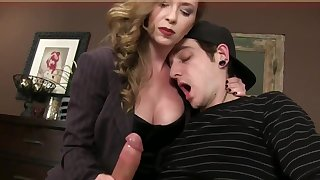Bossy Domina T jerking jism in charm spandex gloves