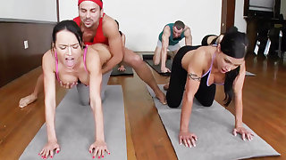 Lustful yoga beauties getting fucked close by a foursome