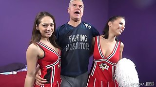 Two grotesque cheerleaders Adriana Chechik and her Gf are fucked and jizzed by one coxcomb