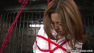 Several bad guys are toying hairy pussy of tied up Japanese inclusive Yui Tachiki