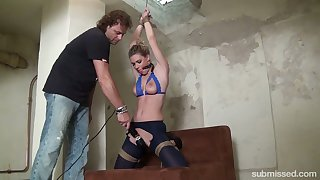 Extraordinary dude with a chubby dildo toy punishes whorish girlfriend Ally