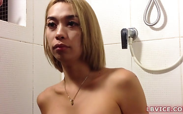 Asian Shemale Haribo Gives Blowjob