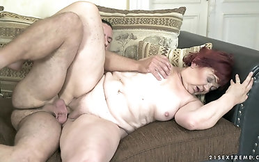 Mature BBW Marsha gets her cunt drilled by a long stiff cock