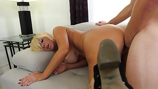 Tanned granny rides young dig up and moans be advisable for pleasure