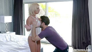 Stepson fucks busty mommy Sara St Clair and cums on say no to big boobies