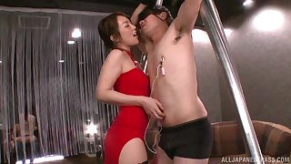 Dominant Japanese woman strips to take weasel words in the ass