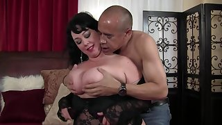 Mature brunette with massive tits is getting her daily dose be incumbent on fuck exotic a black challenge