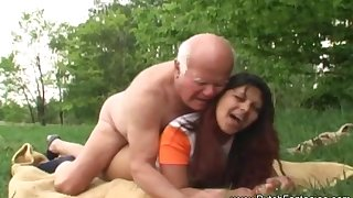 Old Man Fucks Dutch Teen Outdoors Round Relax And Arouse