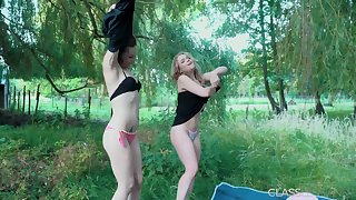 Outdoor lesbian sexual relations between teen lovers with horny pussy
