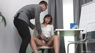 Seductive schoolgirl gets laid with the trainer and loves clean out