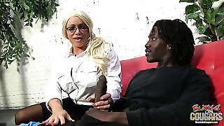 Mature and oddball tow-haired dame wants to suck huge dark-skinned dick of a young chap