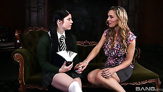 Blonde lecturer lures charming brunette coed girl for some sex