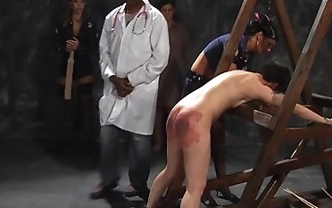 Awesome hottie screams cincture while a mistress spanks her pain in the neck