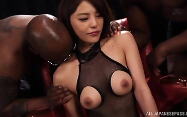 Asian babe Nanako Tsukishima likes when two guys amuse her pussy